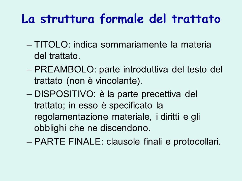 La struttura formale del trattato –TITOLO: indica sommariamente la materia del trattato. –PREAMBOLO: parte introduttiva del testo del trattato (non è