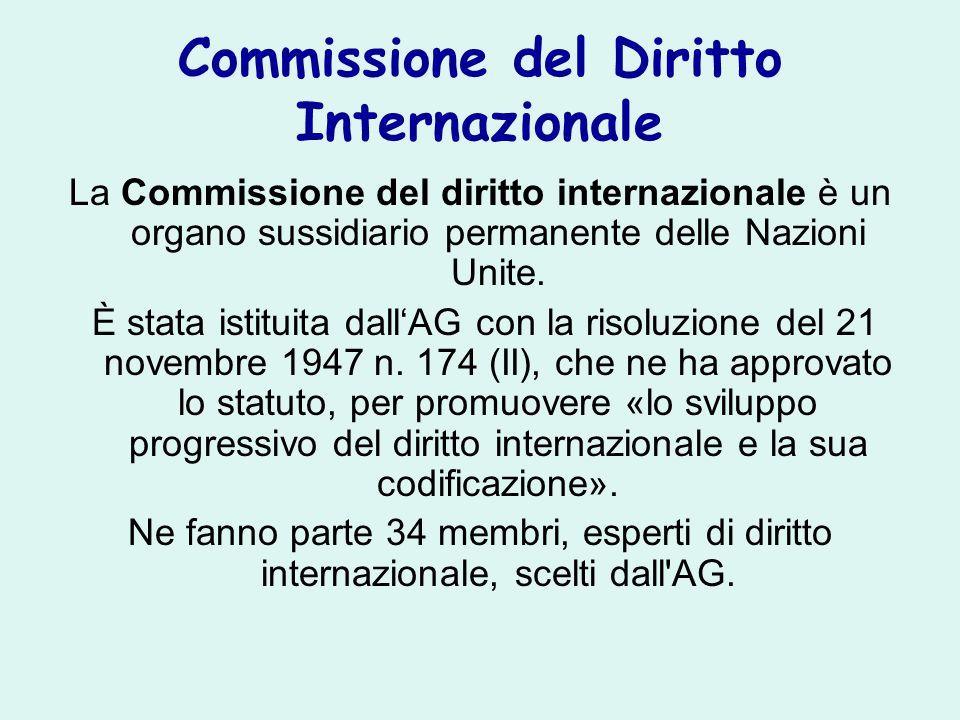Commissione del Diritto Internazionale La Commissione del diritto internazionale è un organo sussidiario permanente delle Nazioni Unite. È stata istit