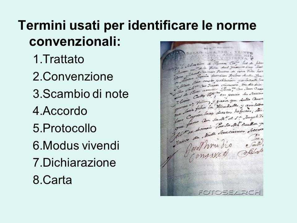 Termini usati per identificare le norme convenzionali: 1.Trattato 2.Convenzione 3.Scambio di note 4.Accordo 5.Protocollo 6.Modus vivendi 7.Dichiarazione 8.Carta