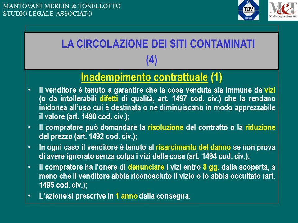 MANTOVANI MERLIN & TONELLOTTO STUDIO LEGALE ASSOCIATO Inadempimento contrattuale (1) Il venditore è tenuto a garantire che la cosa venduta sia immune