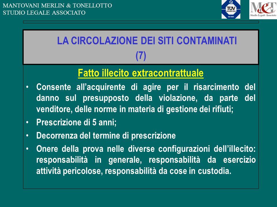 MANTOVANI MERLIN & TONELLOTTO STUDIO LEGALE ASSOCIATO Fatto illecito extracontrattuale Consente all'acquirente di agire per il risarcimento del danno