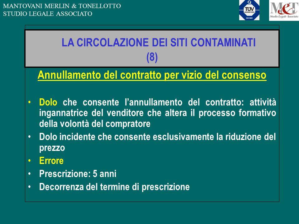 MANTOVANI MERLIN & TONELLOTTO STUDIO LEGALE ASSOCIATO LA CIRCOLAZIONE DEI SITI CONTAMINATI (8) Annullamento del contratto per vizio del consenso Dolo