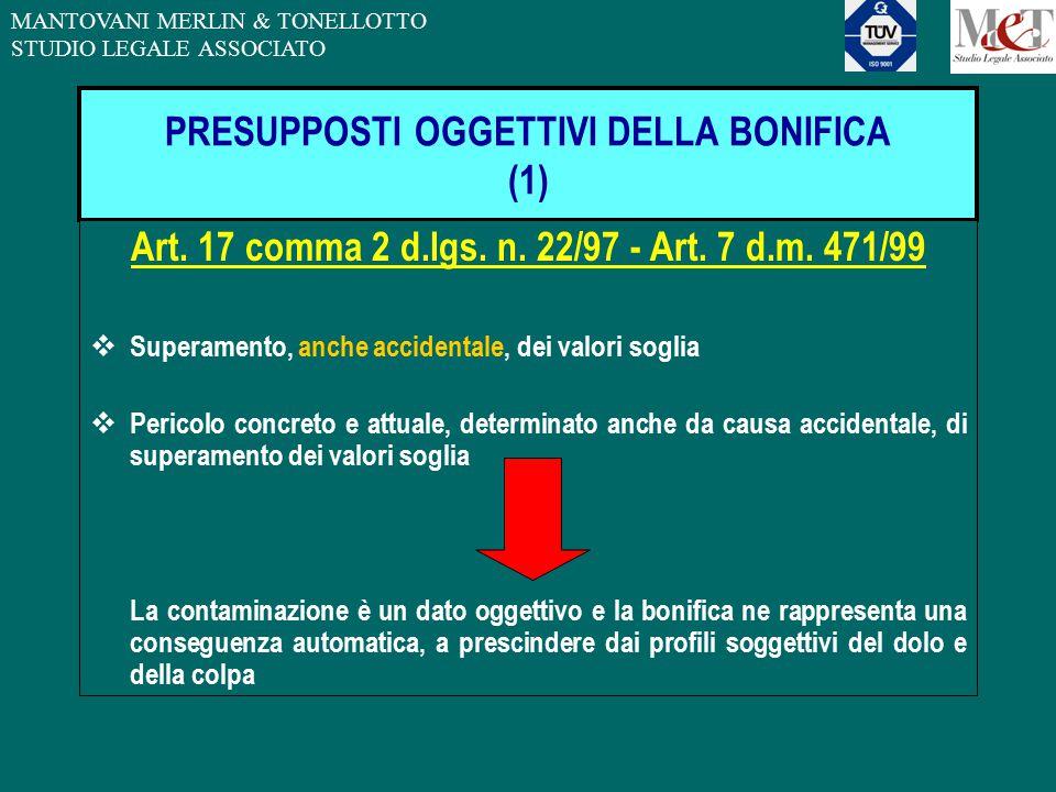 MANTOVANI MERLIN & TONELLOTTO STUDIO LEGALE ASSOCIATO PRESUPPOSTI OGGETTIVI DELLA BONIFICA (1) Art. 17 comma 2 d.lgs. n. 22/97 - Art. 7 d.m. 471/99 