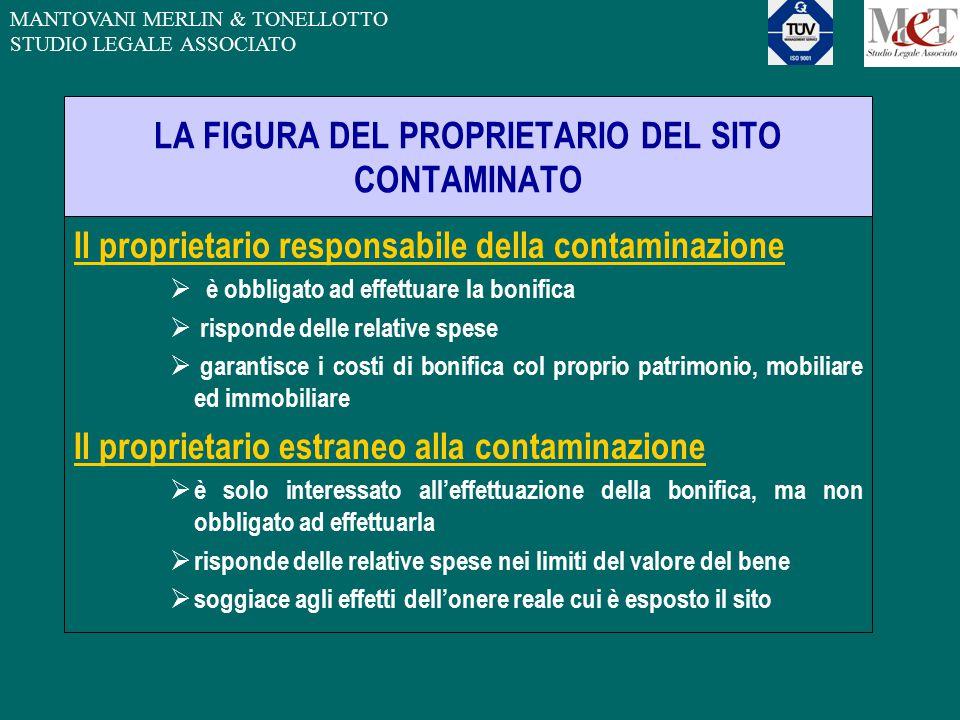 MANTOVANI MERLIN & TONELLOTTO STUDIO LEGALE ASSOCIATO LA FIGURA DEL PROPRIETARIO DEL SITO CONTAMINATO Il proprietario responsabile della contaminazion