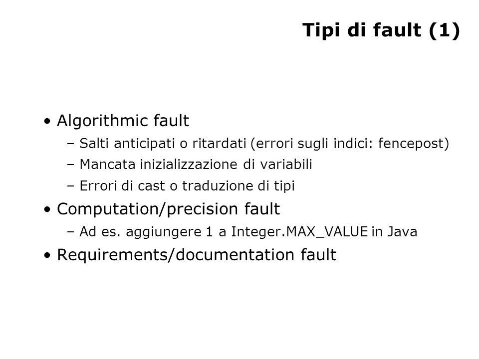 Tipi di fault (1) Algorithmic fault – Salti anticipati o ritardati (errori sugli indici: fencepost) – Mancata inizializzazione di variabili – Errori di cast o traduzione di tipi Computation/precision fault – Ad es.