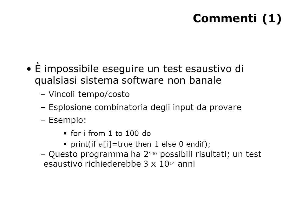 Commenti (1) È impossibile eseguire un test esaustivo di qualsiasi sistema software non banale – Vincoli tempo/costo – Esplosione combinatoria degli i