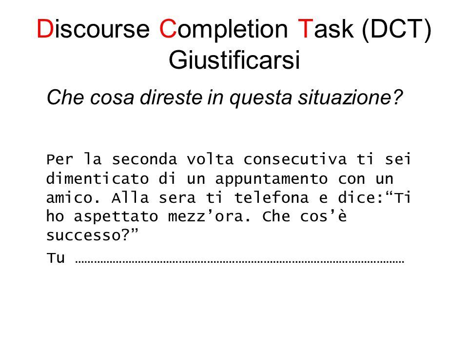 Discourse Completion Task (DCT) Giustificarsi Che cosa direste in questa situazione.