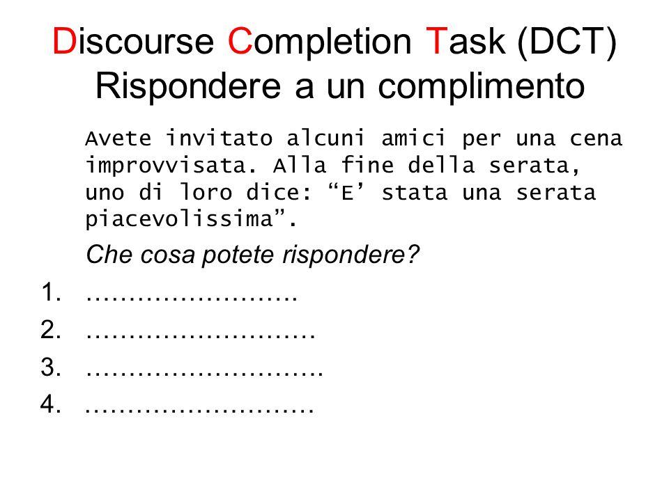 Discourse Completion Task (DCT) Rispondere a un complimento Avete invitato alcuni amici per una cena improvvisata.