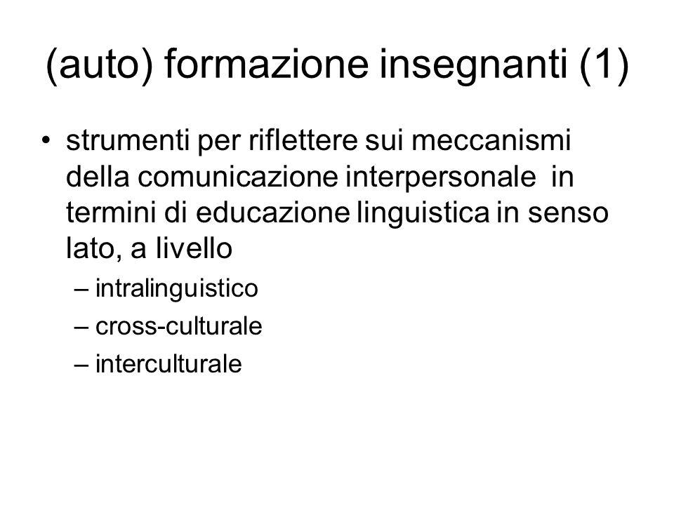 (auto) formazione insegnanti (1) strumenti per riflettere sui meccanismi della comunicazione interpersonale in termini di educazione linguistica in senso lato, a livello –intralinguistico –cross-culturale –interculturale