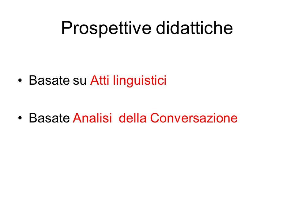 Prospettive didattiche Basate su Atti linguistici Basate Analisi della Conversazione