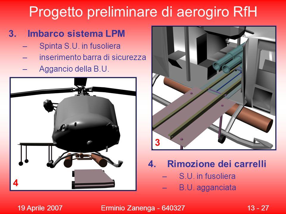 19 Aprile 2007Erminio Zanenga - 64032713 - 27 Progetto preliminare di aerogiro RfH 4 3 3.Imbarco sistema LPM –Spinta S.U.