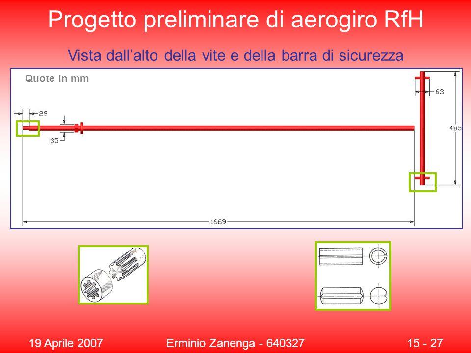 19 Aprile 2007Erminio Zanenga - 64032715 - 27 Progetto preliminare di aerogiro RfH Vista dall'alto della vite e della barra di sicurezza Quote in mm