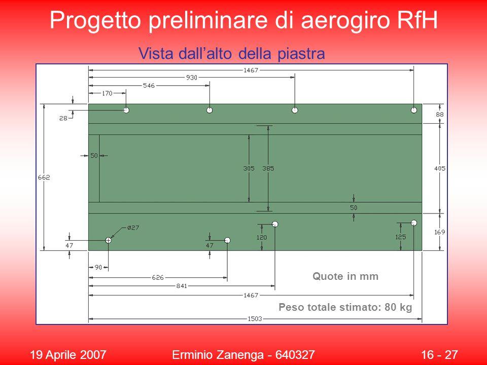 19 Aprile 2007Erminio Zanenga - 64032716 - 27 Progetto preliminare di aerogiro RfH Vista dall'alto della piastra Quote in mm Peso totale stimato: 80 kg