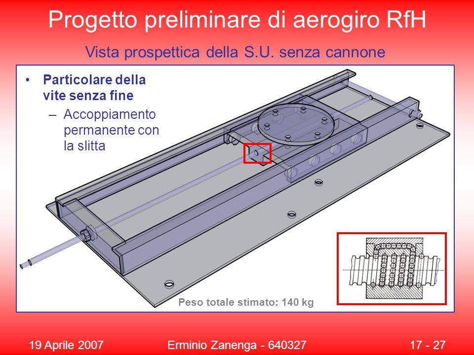 19 Aprile 2007Erminio Zanenga - 64032717 - 27 Progetto preliminare di aerogiro RfH Particolare della vite senza fine –Accoppiamento permanente con la slitta Vista prospettica della S.U.