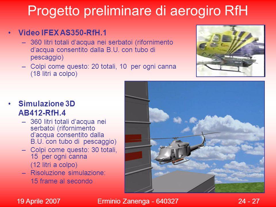 19 Aprile 2007Erminio Zanenga - 64032724 - 27 Progetto preliminare di aerogiro RfH Simulazione 3D AB412-RfH.4 –360 litri totali d'acqua nei serbatoi (rifornimento d'acqua consentito dalla B.U.