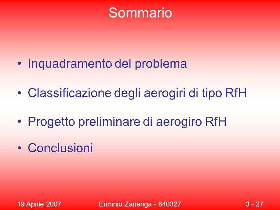 19 Aprile 2007Erminio Zanenga - 6403273 - 27 Sommario Inquadramento del problema Classificazione degli aerogiri di tipo RfH Progetto preliminare di aerogiro RfH Conclusioni