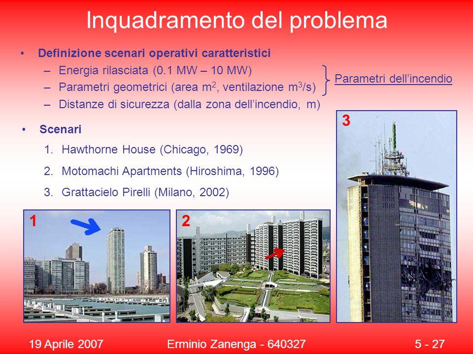 19 Aprile 2007Erminio Zanenga - 6403275 - 27 Inquadramento del problema Definizione scenari operativi caratteristici –Energia rilasciata (0.1 MW – 10 MW) –Parametri geometrici (area m 2, ventilazione m 3 /s) –Distanze di sicurezza (dalla zona dell'incendio, m) Scenari Parametri dell'incendio 12 3 1.Hawthorne House (Chicago, 1969) 2.Motomachi Apartments (Hiroshima, 1996) 3.Grattacielo Pirelli (Milano, 2002)