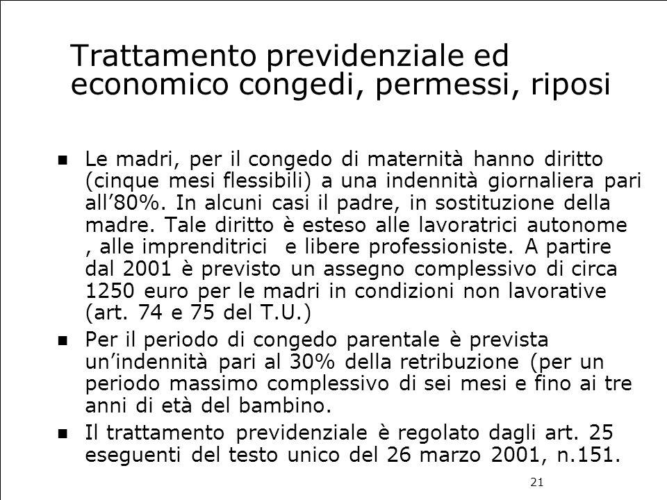21 Trattamento previdenziale ed economico congedi, permessi, riposi Le madri, per il congedo di maternità hanno diritto (cinque mesi flessibili) a una
