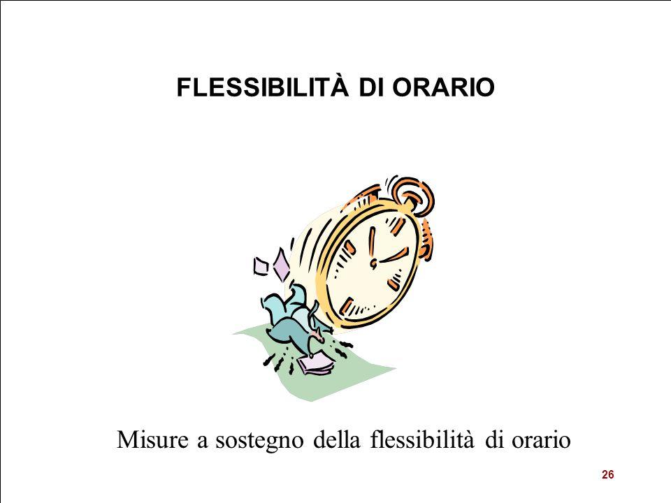 Misure a sostegno della flessibilità di orario FLESSIBILITÀ DI ORARIO 26