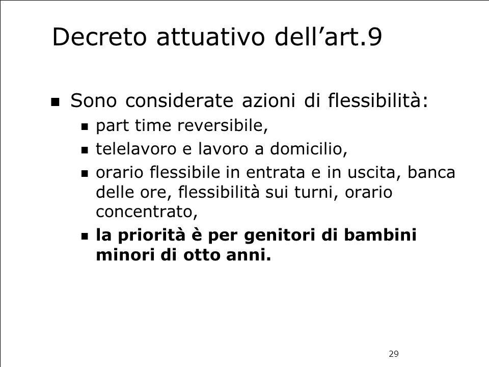 29 Decreto attuativo dell'art.9 Sono considerate azioni di flessibilità: part time reversibile, telelavoro e lavoro a domicilio, orario flessibile in