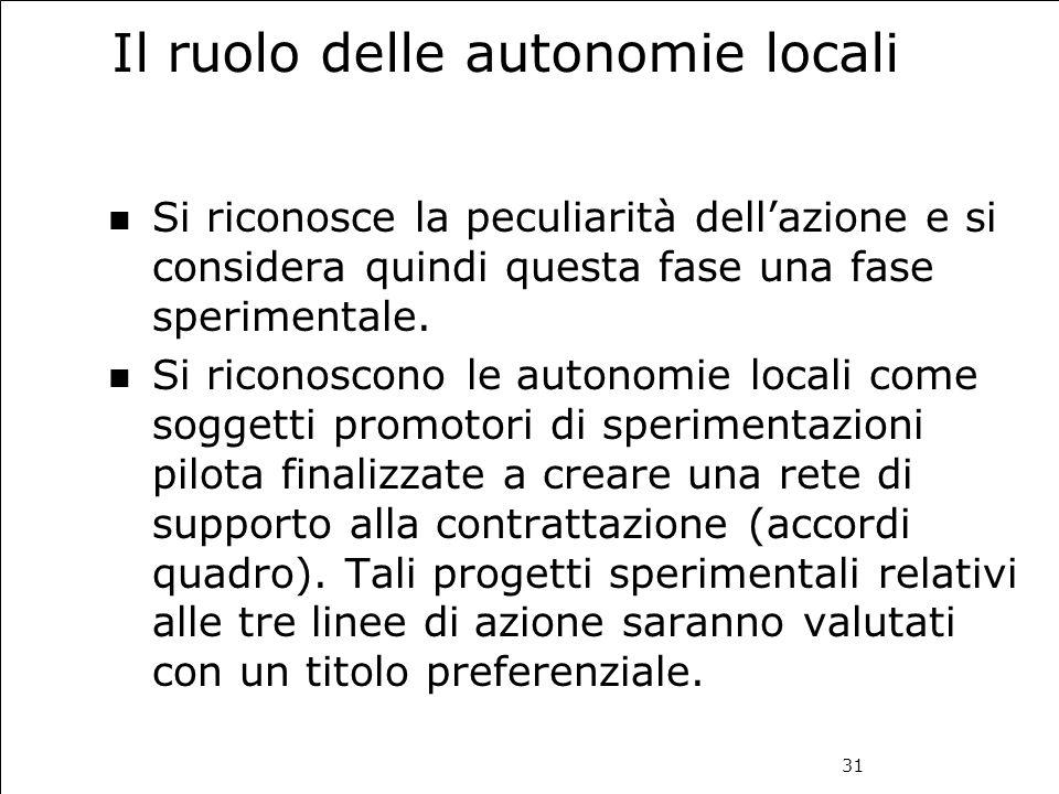 31 Il ruolo delle autonomie locali Si riconosce la peculiarità dell'azione e si considera quindi questa fase una fase sperimentale. Si riconoscono le