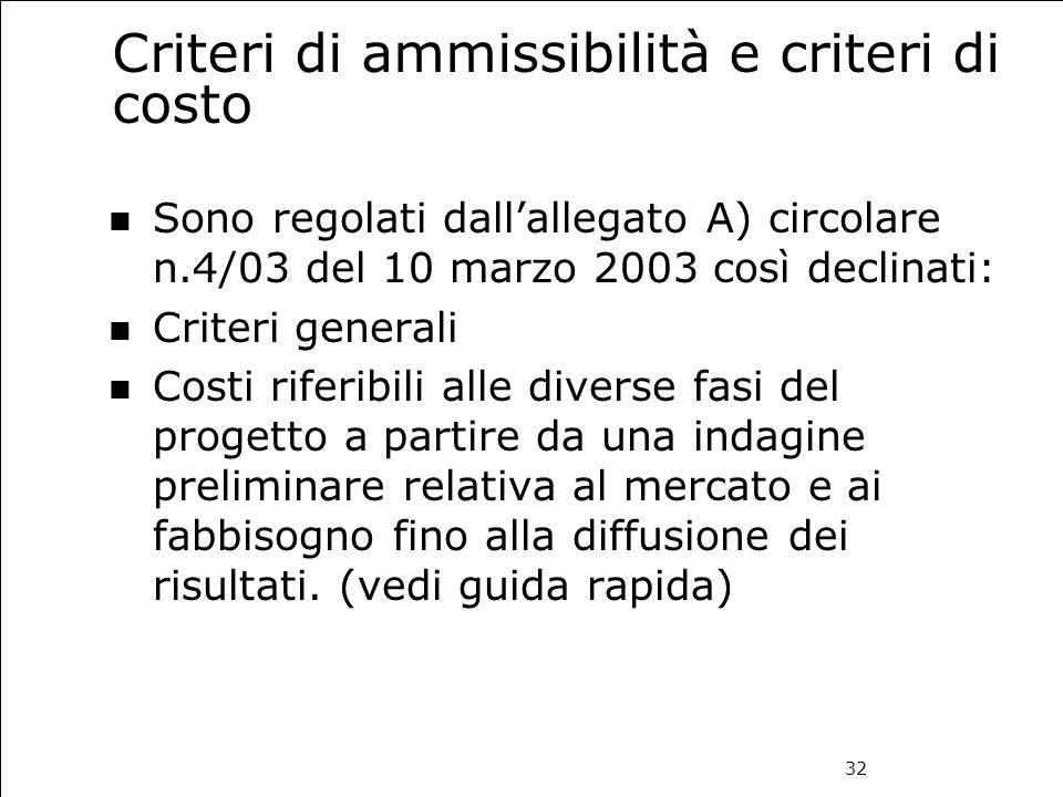 32 Criteri di ammissibilità e criteri di costo Sono regolati dall'allegato A) circolare n.4/03 del 10 marzo 2003 così declinati: Criteri generali Cost