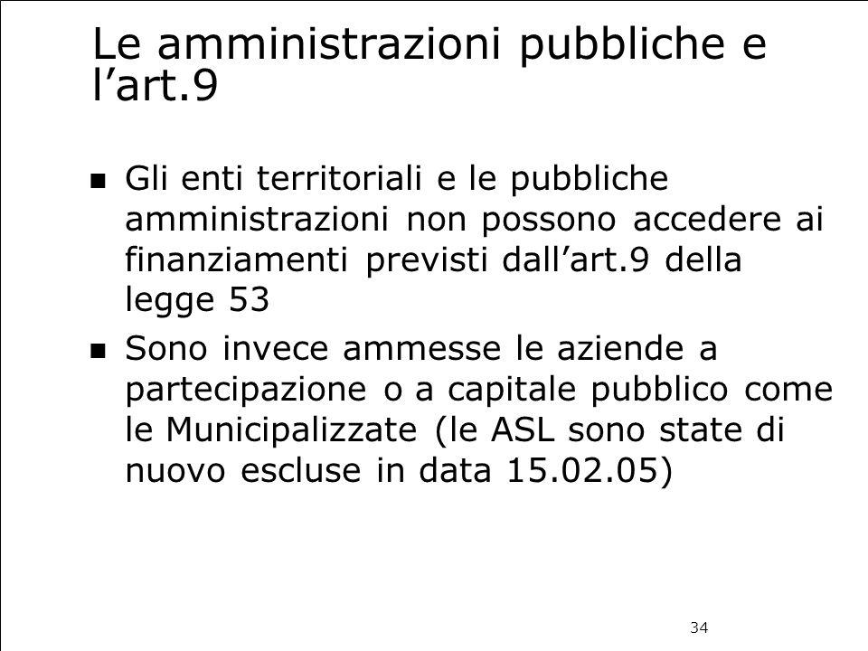 34 Le amministrazioni pubbliche e l'art.9 Gli enti territoriali e le pubbliche amministrazioni non possono accedere ai finanziamenti previsti dall'art