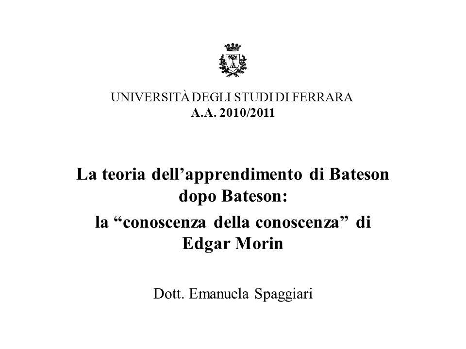 """La teoria dell'apprendimento di Bateson dopo Bateson: la """"conoscenza della conoscenza"""" di Edgar Morin Dott. Emanuela Spaggiari UNIVERSITÀ DEGLI STUDI"""