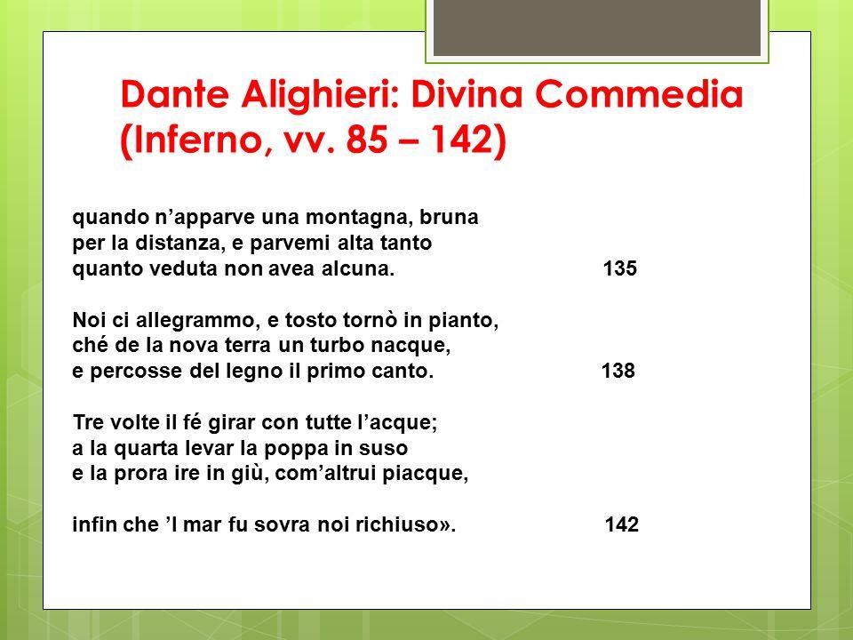 Dante Alighieri: Divina Commedia (Inferno, vv. 85 – 142) quando n'apparve una montagna, bruna per la distanza, e parvemi alta tanto quanto veduta non