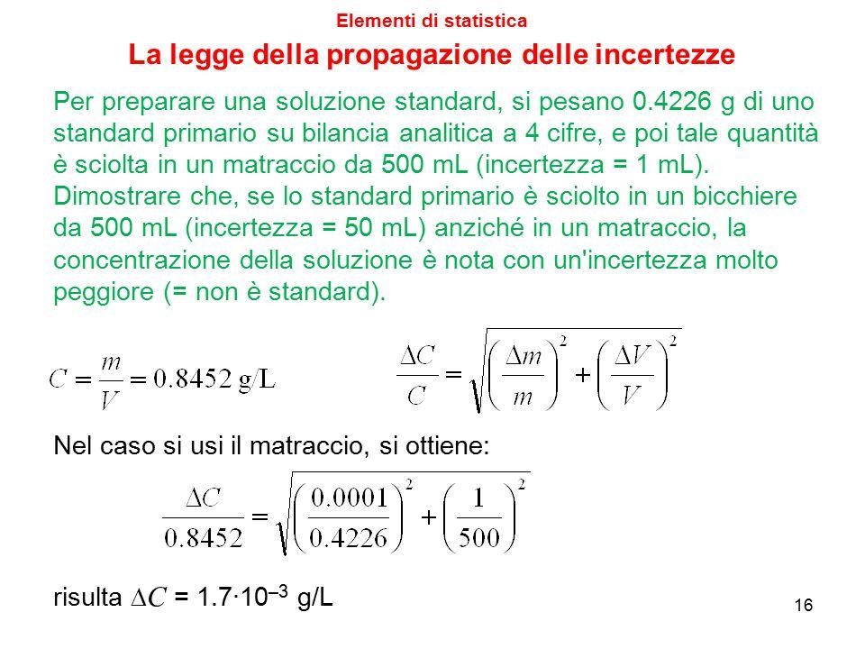 Elementi di statistica 16 Nel caso si usi il matraccio, si ottiene: La legge della propagazione delle incertezze risulta  C = 1.7·10 –3 g/L Per prepa