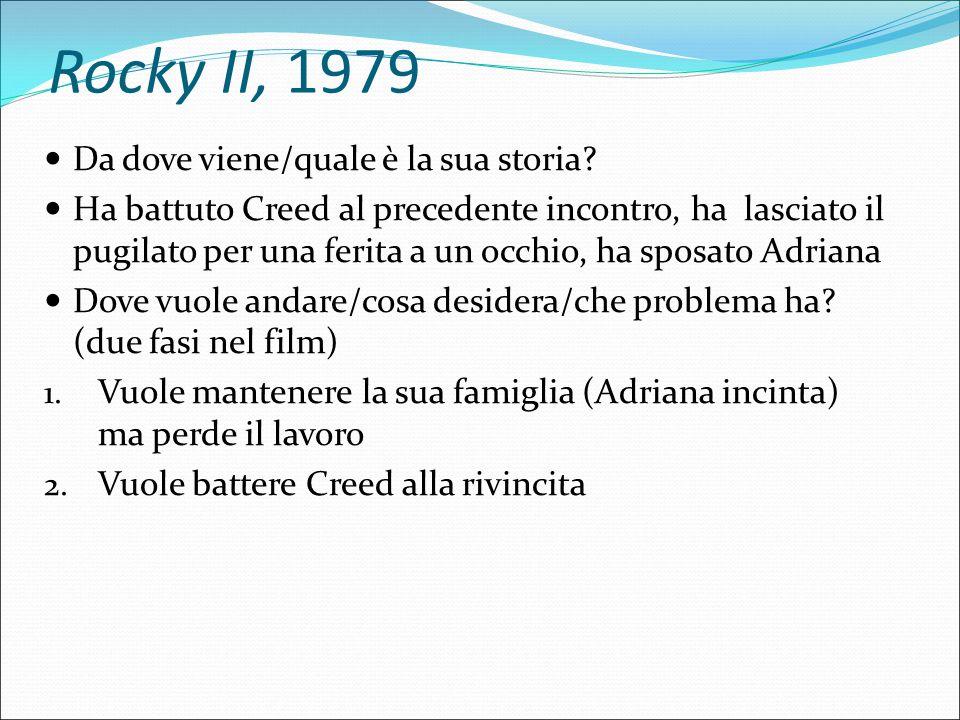 Rocky II, 1979 Quale è il suo 'movente'.