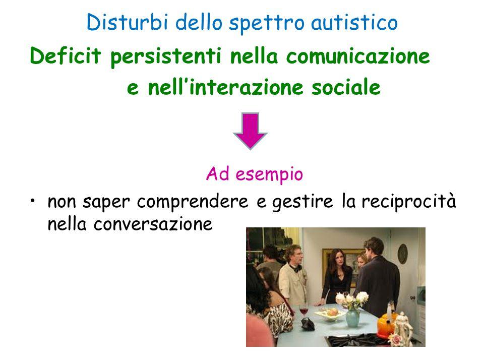 Disturbi dello spettro autistico Deficit persistenti nella comunicazione e nell'interazione sociale Ad esempio non saper comprendere e gestire la reci