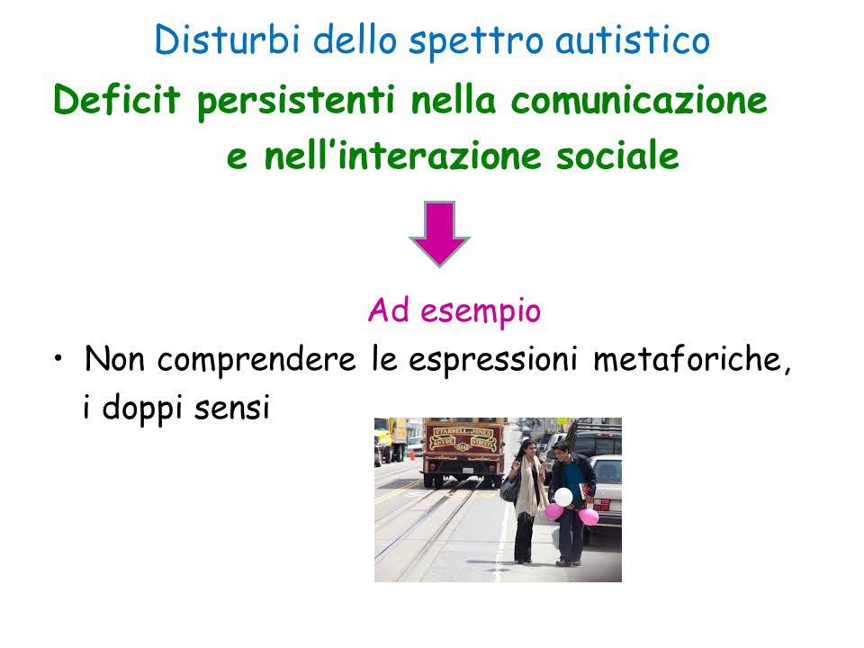 Disturbi dello spettro autistico Deficit persistenti nella comunicazione e nell'interazione sociale Ad esempio Non comprendere le espressioni metafori