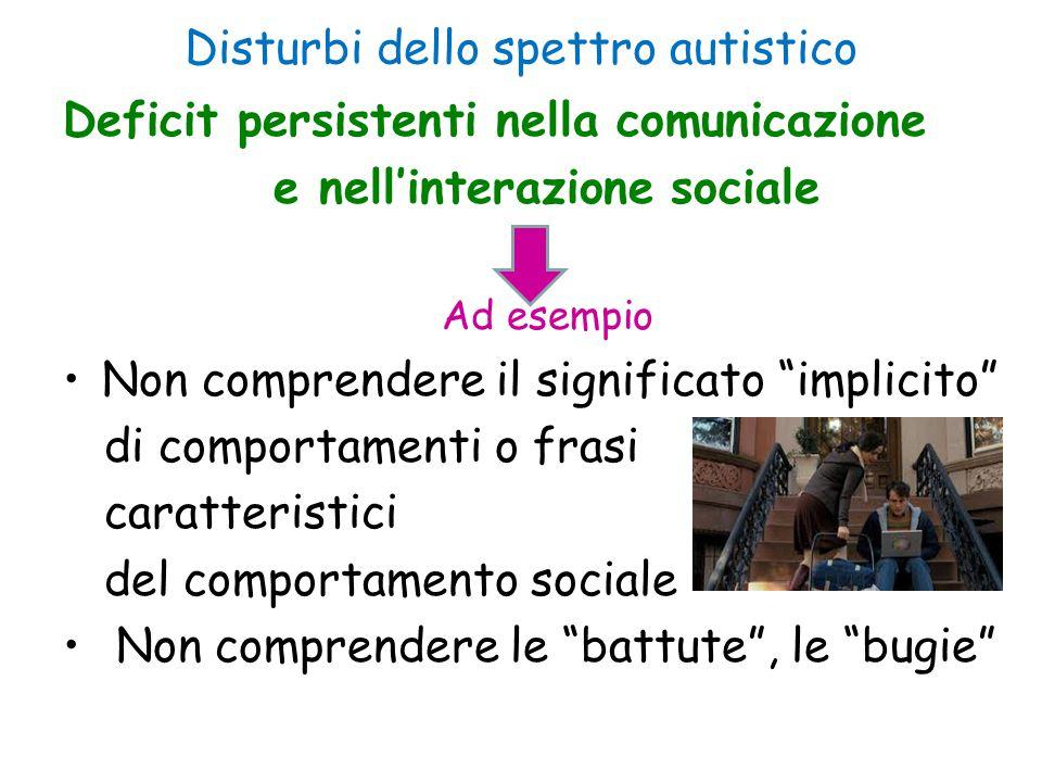 """Disturbi dello spettro autistico Deficit persistenti nella comunicazione e nell'interazione sociale Ad esempio Non comprendere il significato """"implici"""