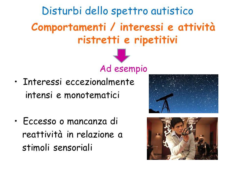 Disturbi dello spettro autistico Comportamenti / interessi e attività ristretti e ripetitivi Ad esempio Interessi eccezionalmente intensi e monotemati