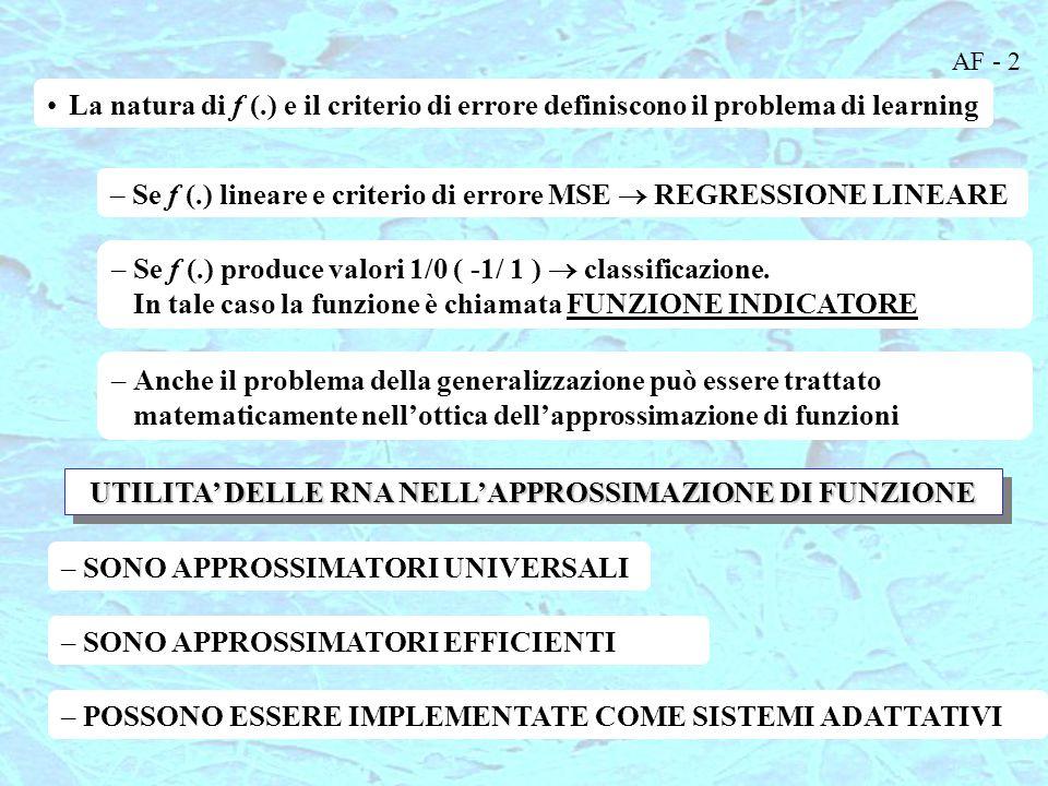 AF - 2 La natura di f (.) e il criterio di errore definiscono il problema di learning –Se f (.) lineare e criterio di errore MSE  REGRESSIONE LINEARE –Se f (.) produce valori 1/0 ( -1/ 1 )  classificazione.