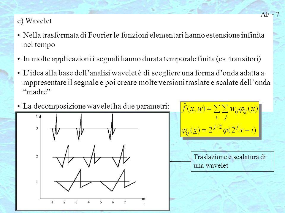 Usando sistemi adattativi i pesi possono essere trovati attraverso il learning piuttosto che analiticamente Le basi sono dipendenti dai dati X1X1 X2X2 XDXD +1 b1b1 a 11 w1w1 w1w1 y La MLP realizza l'approssimazione di funzione usando come basi esattamente le uscite dei neuroni nascosti Basi per l'approssimazione di funzioni non lineari con le MLP Funzioni elementari locali: rispondono primariamente ad un'area limitata dello spazio degli ingressi Funzioni elementari globali: rispondono all'intero spazio degli ingressi AF - 8