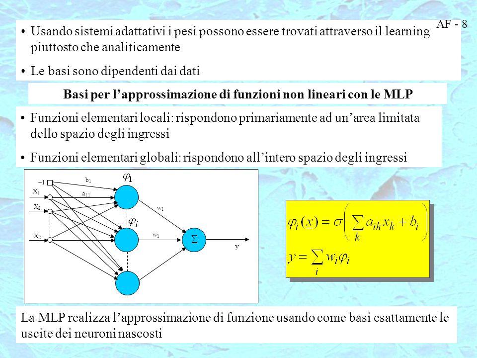 Approssimazione con funzioni logistiche Nota: i neuroni sigmoidali realizzano funzioni elementari globali Interpretazione: la MLP sta realizzando una approssimazione di funzione con un set di BASI ADATTATIVE che vengono realizzate dai dati di input-output Esse dipendono dai pesi del primo strato e dagli ingressi AF - 9