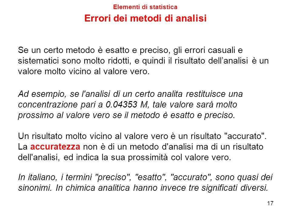L'entità degli errori casuali e sistematici di un certo metodo di analisi ne definisce due caratteristiche: Se un metodo presenta errori casuali di en