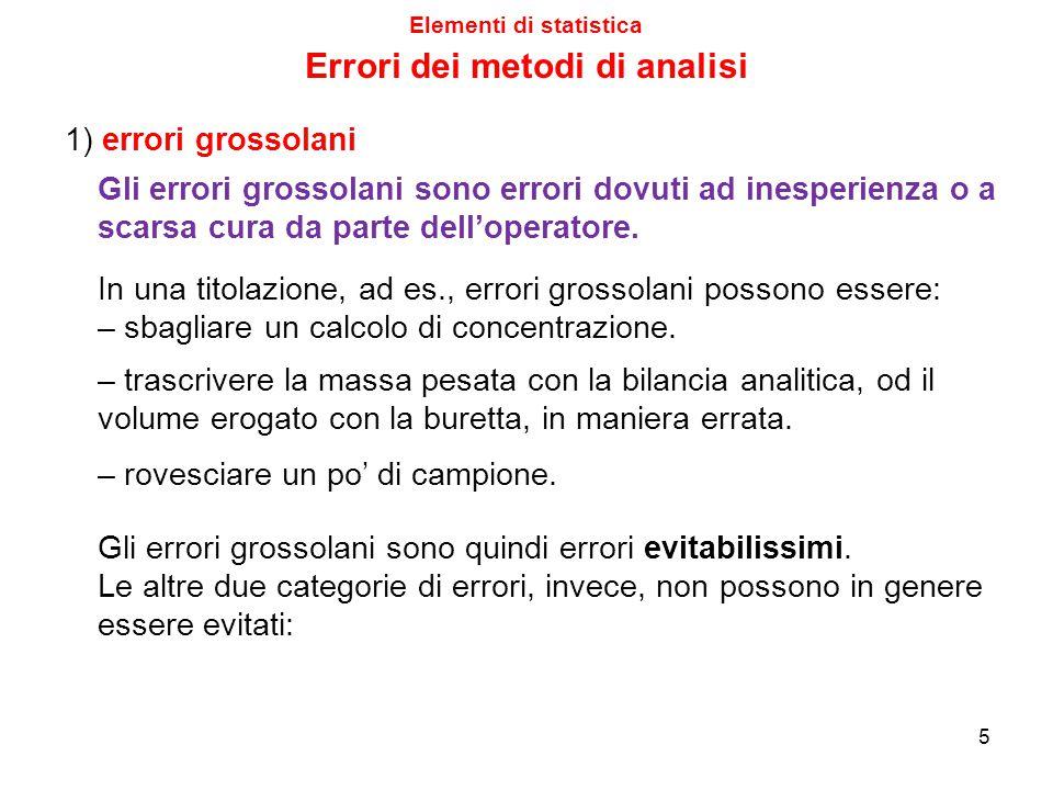 5 Elementi di statistica 1) errori grossolani Gli errori grossolani sono errori dovuti ad inesperienza o a scarsa cura da parte dell'operatore.