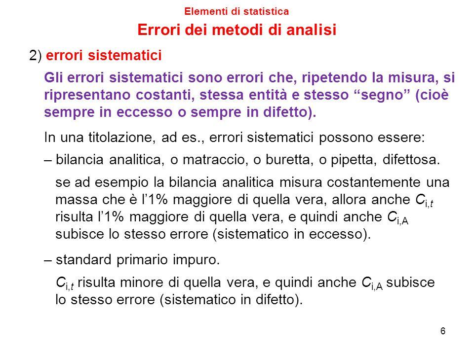 6 2) errori sistematici Gli errori sistematici sono errori che, ripetendo la misura, si ripresentano costanti, stessa entità e stesso segno (cioè sempre in eccesso o sempre in difetto).