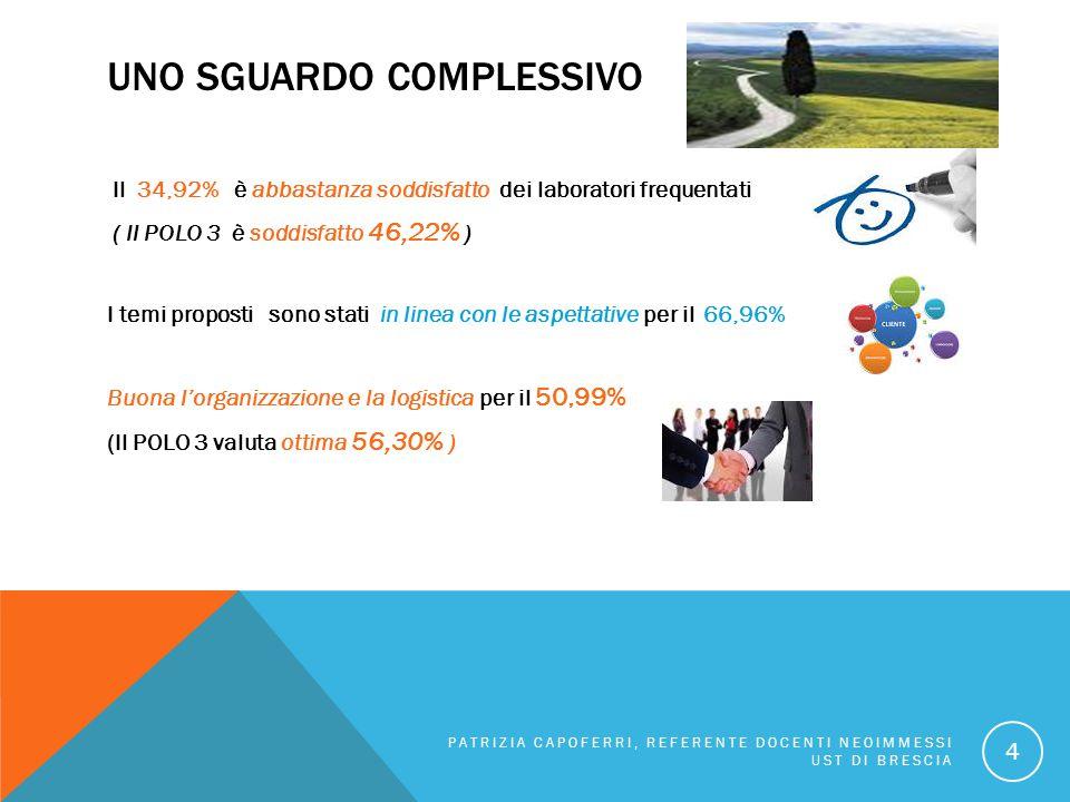 UNO SGUARDO COMPLESSIVO Il 34,92% è abbastanza soddisfatto dei laboratori frequentati ( Il POLO 3 è soddisfatto 46,22% ) I temi proposti sono stati in