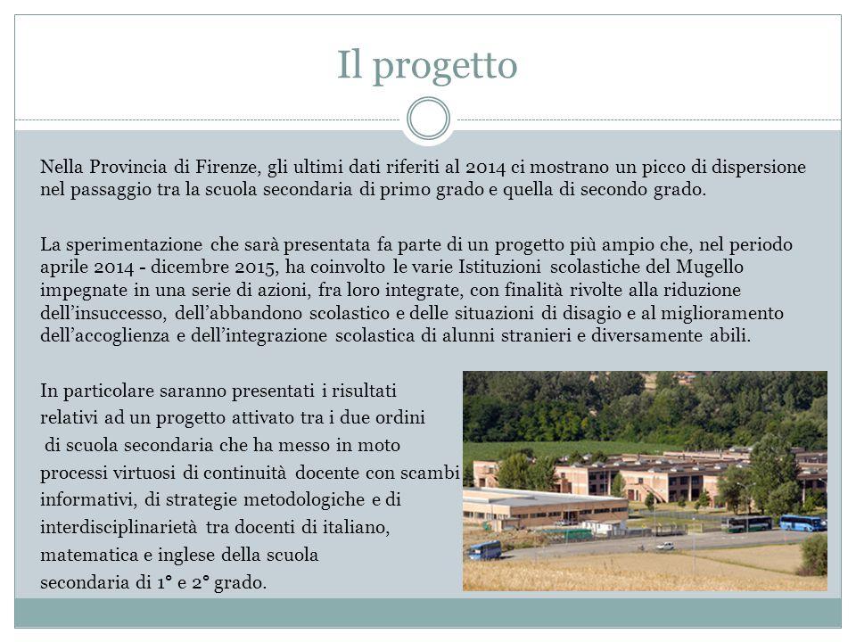 Il progetto Nella Provincia di Firenze, gli ultimi dati riferiti al 2014 ci mostrano un picco di dispersione nel passaggio tra la scuola secondaria di primo grado e quella di secondo grado.
