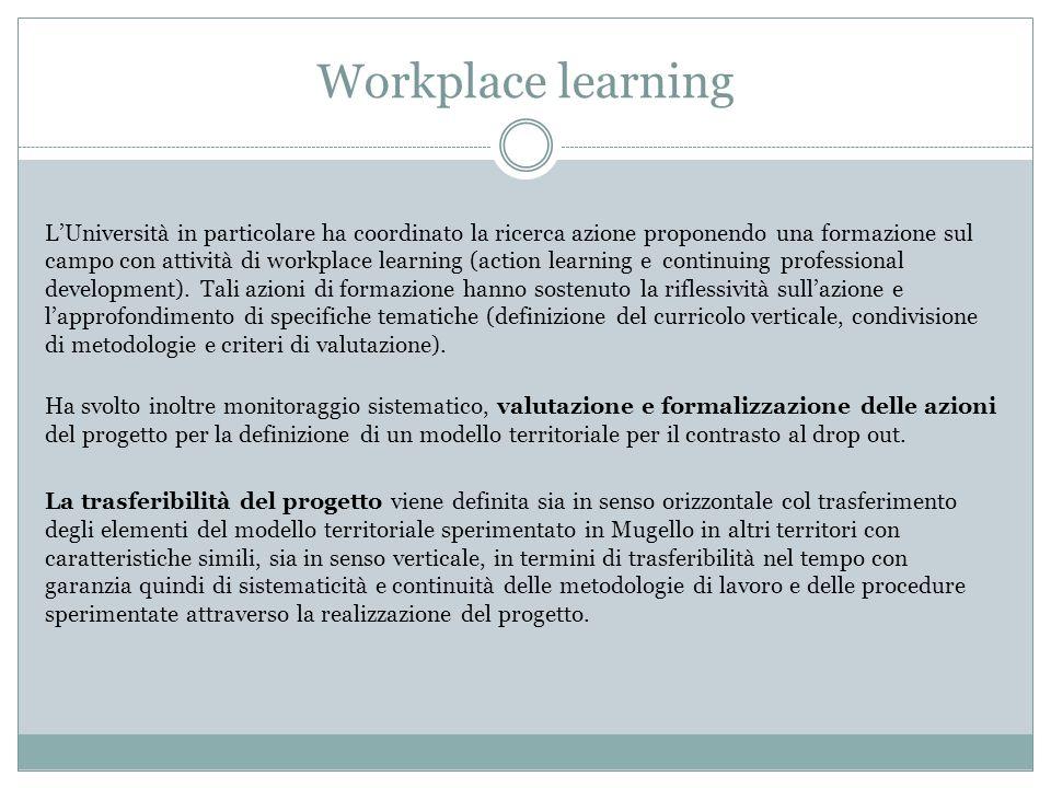 Workplace learning L'Università in particolare ha coordinato la ricerca azione proponendo una formazione sul campo con attività di workplace learning (action learning e continuing professional development).