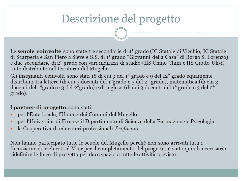 Descrizione del progetto Le scuole coinvolte sono state tre secondarie di 1° grado (IC Statale di Vicchio, IC Statale di Scarperia e San Piero a Sieve e S.S.