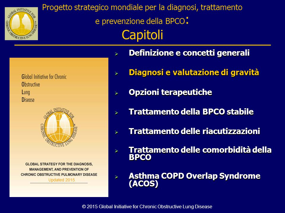 © 2015 Global Initiative for Chronic Obstructive Lung Disease Progetto strategico mondiale per la diagnosi, trattamento e prevenzione della BPCO : Cap