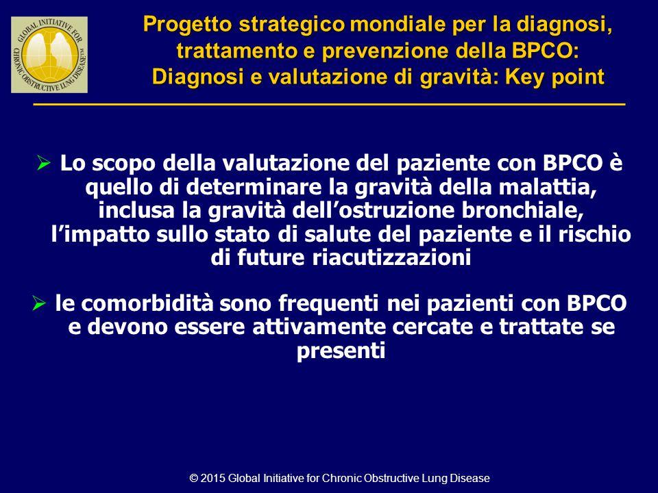  Lo scopo della valutazione del paziente con BPCO è quello di determinare la gravità della malattia, inclusa la gravità dell'ostruzione bronchiale, l