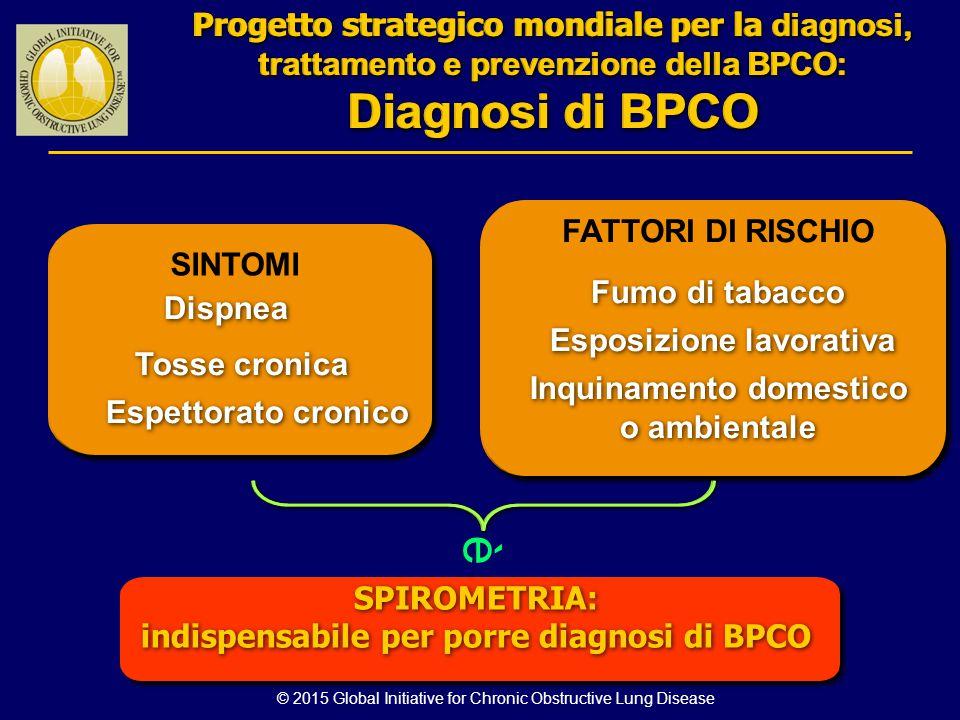 © 2015 Global Initiative for Chronic Obstructive Lung Disease SINTOMI Tosse cronica Dispnea FATTORI DI RISCHIO Fumo di tabacco Esposizione lavorativa