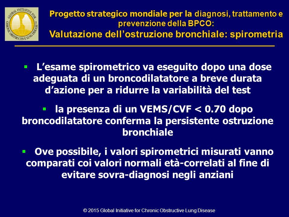 © 2015 Global Initiative for Chronic Obstructive Lung Disease  L'esame spirometrico va eseguito dopo una dose adeguata di un broncodilatatore a breve