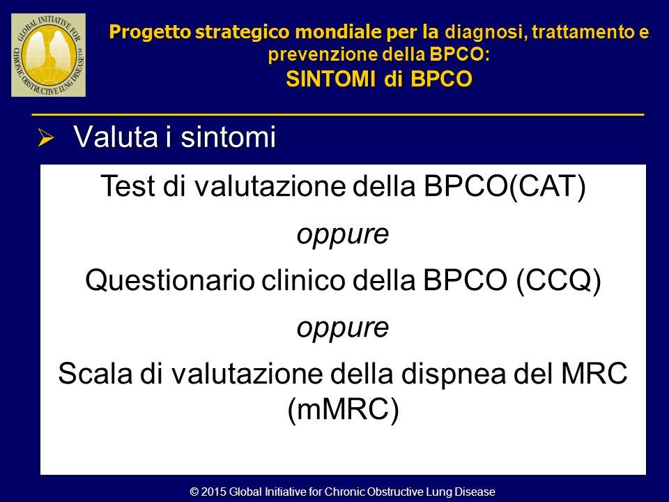  Valuta i sintomi Test di valutazione della BPCO(CAT) oppure Questionario clinico della BPCO (CCQ) oppure Scala di valutazione della dispnea del MRC